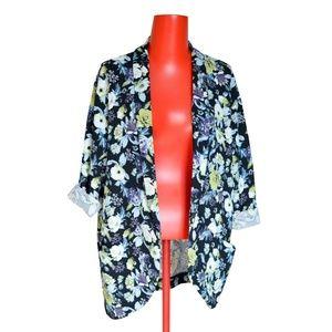 FOREVER 21 Blazer Jacket Floral Open Front Sz M